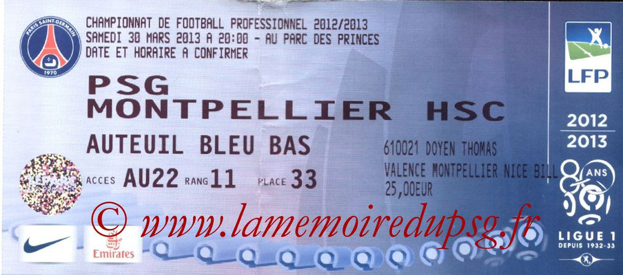 Tickets  PSG-Montpellier  2012-13