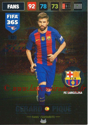 2016-17 - Panini Adrenalyn XL FIFA 365 - N° 057 - Gerard PIQUE (FC Barcelone) (Fans' Favourite)