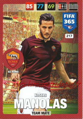 2016-17 - Panini Adrenalyn XL FIFA 365 - N° 217 - Kostas MANOLAS (AS Roma)