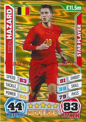 Topps Match Attax England 2014 - N° 025 - Eden HAZARD (Belgique) (Star Player)