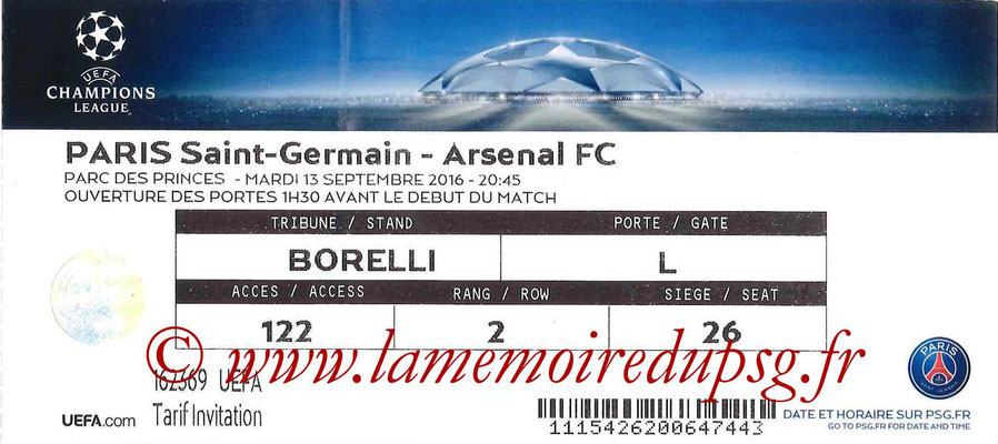 Tickets  PSG-Arsenal  2016-17