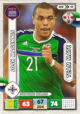 2018 - Panini Road to FIFA World Cup Russia Adrenalyn XL - N° NIR18 - Josh MAGENNIS (Irlande du Nord) (UK Version)