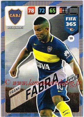 2017-18 - Panini FIFA 365 Cards - N° 019 - Frank FABRA (Boca Juniors)