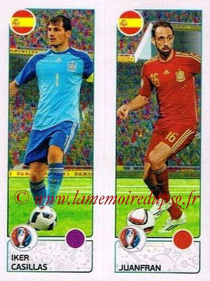 Panini Euro 2016 Stickers - N° 374 - Iker CASILLAS + JUANFRAN (Espagne)