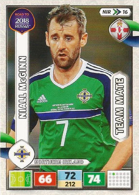 2018 - Panini Road to FIFA World Cup Russia Adrenalyn XL - N° NIR16 - Niall McGINN (Irlande du Nord) (UK Version)