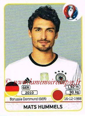 Panini Euro 2016 Stickers - N° 244 - Mats HUMMELS (Allemagne)