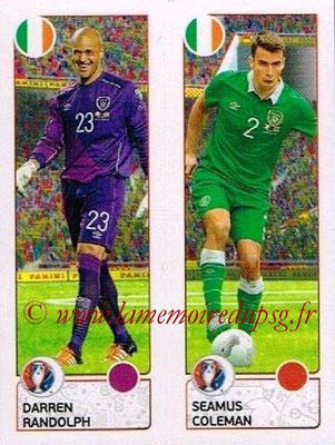 Panini Euro 2016 Stickers - N° 538 - Darren RANDOLPH + Seamus COLEMAN (République d'Irlande)