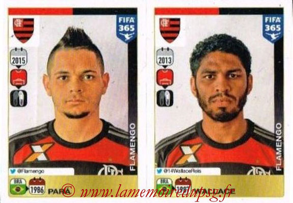 2015-16 - Panini FIFA 365 Stickers - N° 196-197 - PARA + WALLACE (CR Flamengo)