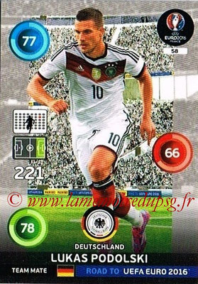 Panini Road to Euro 2016 Cards - N° 058 - Lukas PODOLSKI (Allemagne)