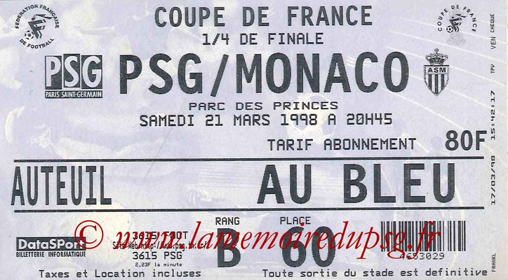 Tickets  PSG-Monaco  1997-98