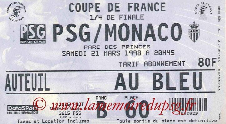 Tickets  PSG-Monaco  1997-98