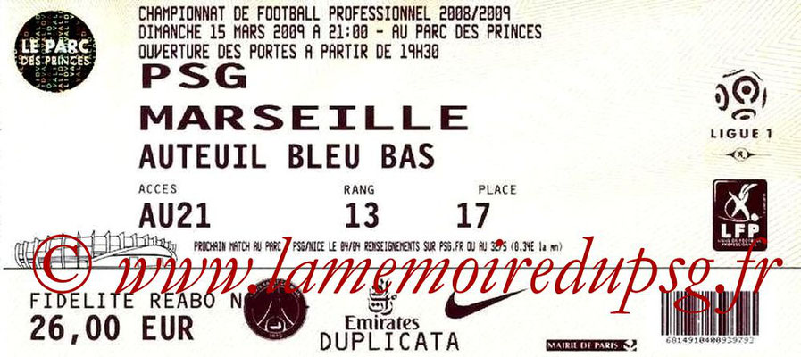 Tickets  PSG-Marseille  2008-09