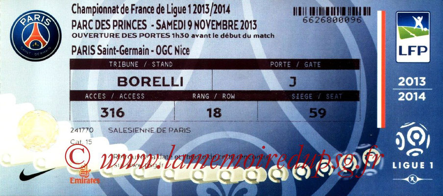 Tickets  PSG-Nice  2013-14
