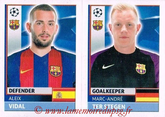 2016-17 - Topps UEFA Champions League Stickers - N° FCB 4-5 - Marc-Andre TER STEGEN + Aleix VIDAL (FC Barcelone)