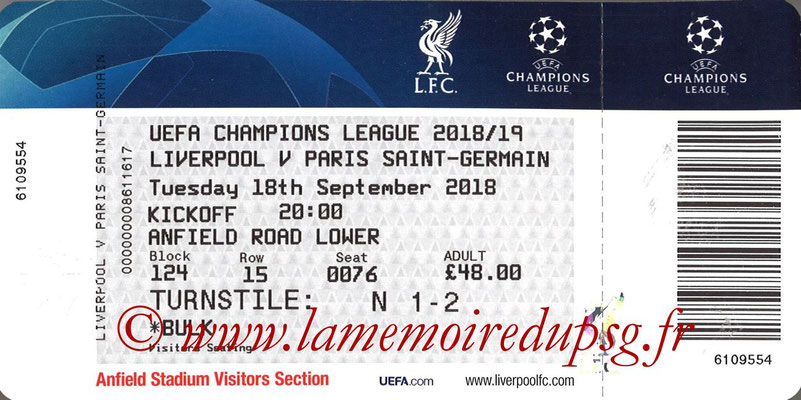 Ticket  Liverpool-PSG  2018-19