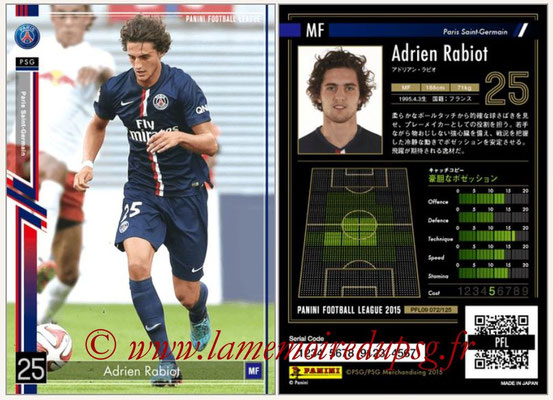 Panini Football League 2015 - PFL09 - N° 072 - Adrien RABIOT (Paris Saint-Germain)