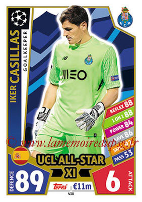 2017-18 - Topps UEFA Champions League Match Attax - N° 430 - Iker CASILLAS (FC Porto) (UCL All-Star XI)