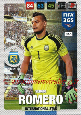 2016-17 - Panini Adrenalyn XL FIFA 365 - N° 316 - Sergio ROMERO (Argentine) (International Star)