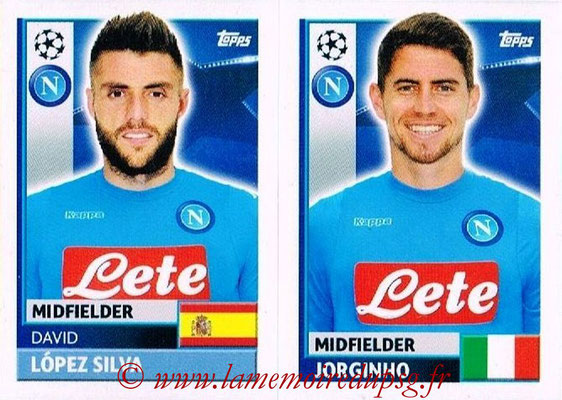 2016-17 - Topps UEFA Champions League Stickers - N° NAP 10-11 - JORGINHO + David LOPEZ SILVA (SSC Naples)