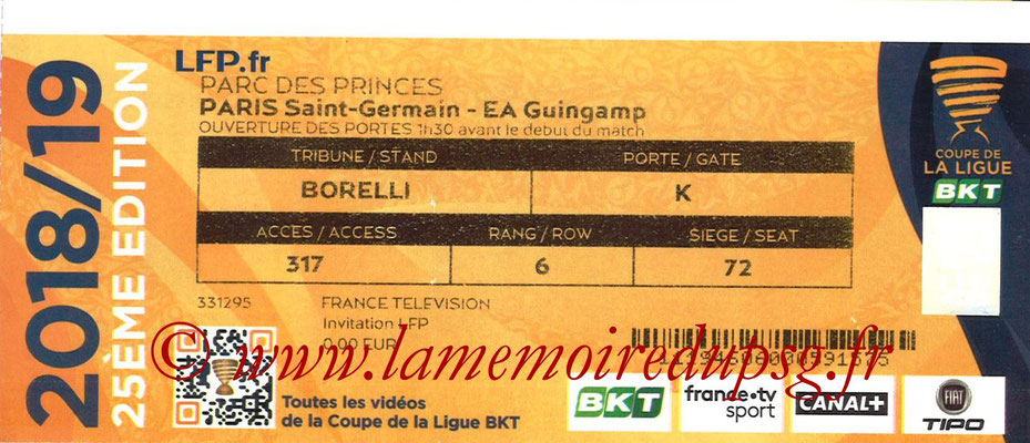 Ticket  PSG-Guingamp  2018-19