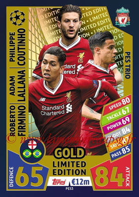 2017-18 - Topps UEFA Champions League Match Attax - N° PES3 - Roberto FIRMINO + Adam LALLANA + Philippe COUTINHO (Liverpool) (PES Trio)