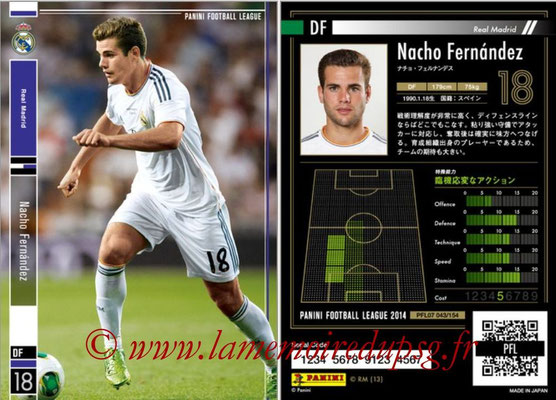 Panini Football League 2014 - PFL07 - N° 043 - Nacho FERNANDEZ (Real Madrid)