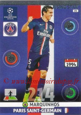 2014-15 - Adrenalyn XL champions League N° 206 - MARQUINHOS (Paris Saint-Germain)  (Rising star)