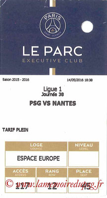 Tickets  PSG-Nantes  2015-16