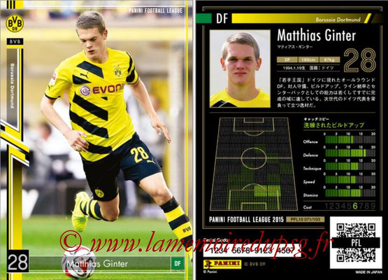 Panini Football League 2015 - PFL10 - N° 071 - Matthias GINTER (Borussia Dortmund)