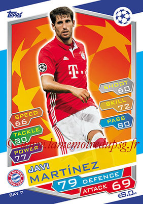 2016-17 - Topps UEFA Champions League Match Attax - N° BAY7 - Javi MARTINEZ (FC Bayern Munich)