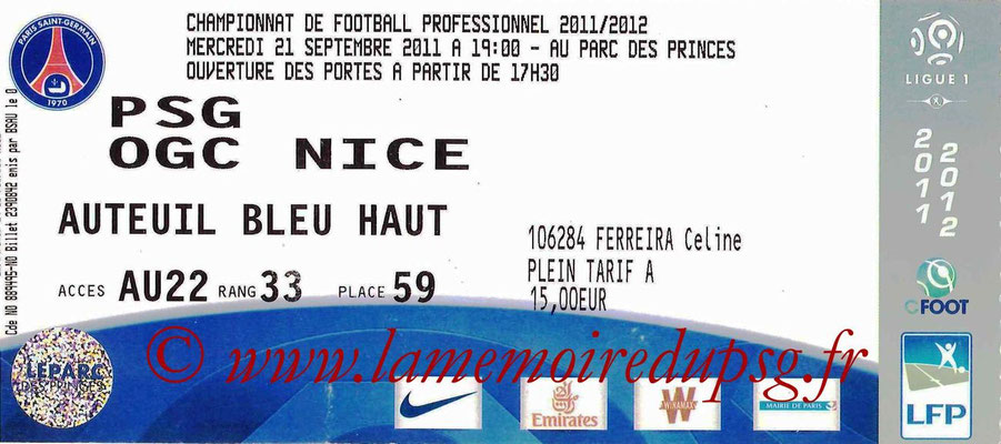 Tickets PSG-Nice  2011-12