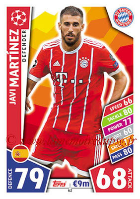 2017-18 - Topps UEFA Champions League Match Attax - N° 062 - Javi MARTINEZ (FC Bayern Munich)
