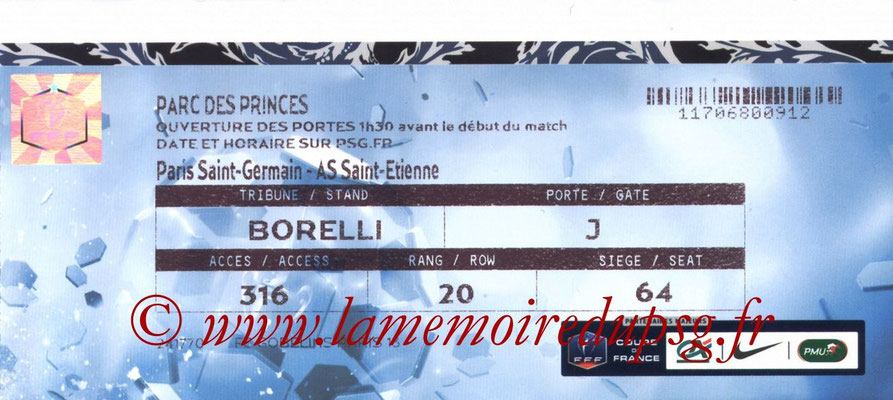 Tickets  PSG-Saint Etienne  2014-15