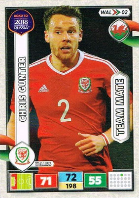 2018 - Panini Road to FIFA World Cup Russia Adrenalyn XL - N° WAL02 - Chris GUNTER (Pays de Galles)