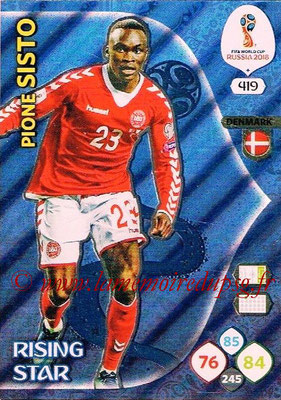 2018 - Panini FIFA World Cup Russia Adrenalyn XL - N° 419 - Pione SISTO (Danemark) (Rising Star)