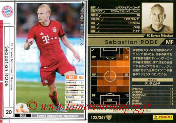 2015-16 - Panini WCCF - N° 123 - Sebastian RODE (FC Bayern Munich)