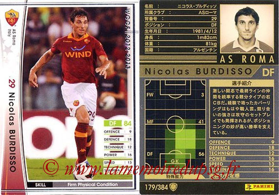 2012-13 - WCCF - N° 179 - Nicolas BURDISSO (AS Roma)