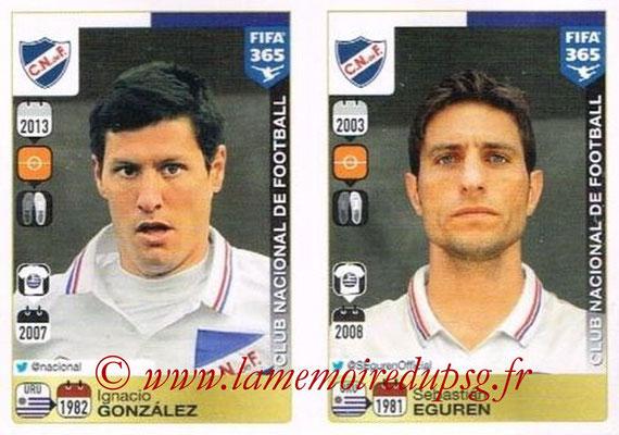 2015-16 - Panini FIFA 365 Stickers - N° 813-814 - Ignacio GONZALES + Sebastián EGUREN (Club Nacional de Football)