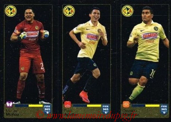 2015-16 - Panini FIFA 365 Stickers - N° 623-624-625 - Moisés MUNOZ + Paul AGUILAR + Osvaldo MARTINEZ (Club America)