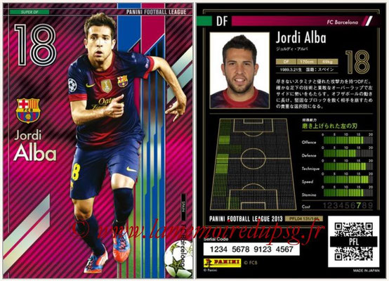 Panini Football League 2013 - PFL04 - N° 131 - Jordi ALBA (FC Barcelone) (Super DF)