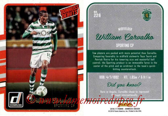 2016 - Panini Donruss Cards - N° 226 - William CARVALHO (Sporting CP) (Donruss Debuts)