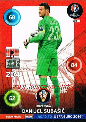 Panini Road to Euro 2016 Cards - N° 100 - Danijel SUBASIC (Croatie)