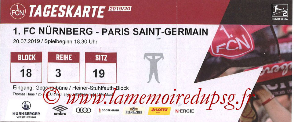 Ticket  Nuremberg-PSG  2019-20