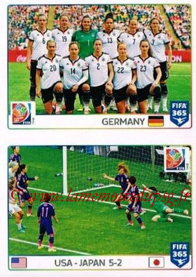 2015-16 - Panini FIFA 365 Stickers - N° 058-059 - Allemagne-Angleterre + Etats-Unis-Japon (FIFA Women's World Cup)