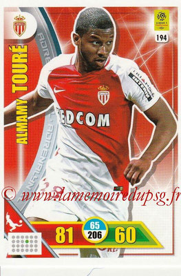 2017-18 - Panini Adrenalyn XL Ligue 1 - N° 194 - Almamy TOURE (Monaco)