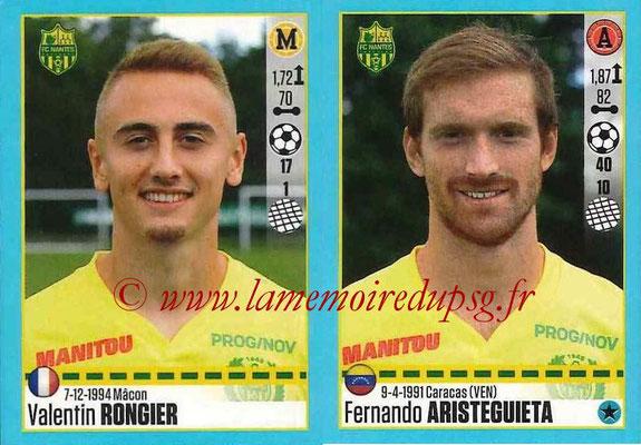 2016-17 - Panini Ligue 1 Stickers - N° 626 + 627 - Valentin RONGIER + Fernando ARISTEGUIETA (Nantes)