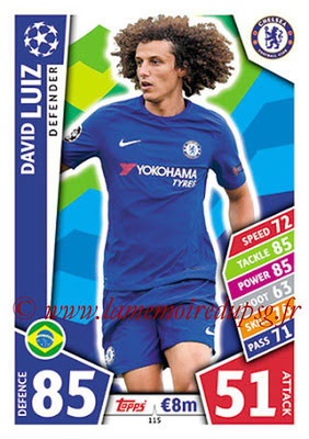 2017-18 - Topps UEFA Champions League Match Attax - N° 115 - David LUIZ (Chelsea FC)