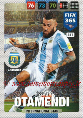 2016-17 - Panini Adrenalyn XL FIFA 365 - N° 317 - Nicolas OTAMENDI (Argentine) (International Star)