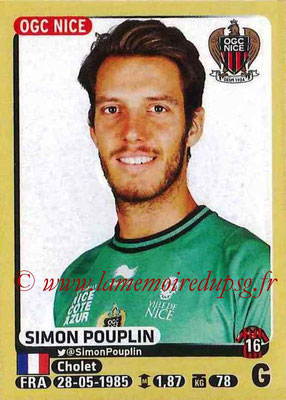 2015-16 - Panini Ligue 1 Stickers - N° 315 - Simon POUPLIN (OGC Nice)