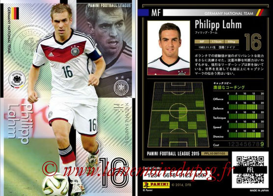 Panini Football League 2015 - PFL10 - N° 097 - Philipp LAHM (Allemagne) (National Bandiera)